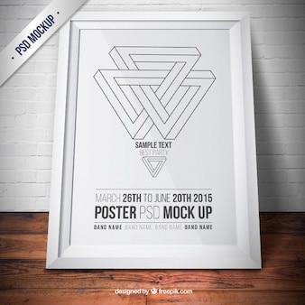 Maqueta de marco blanco con póster