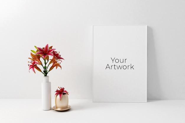 Maqueta de marco de cartel con flores