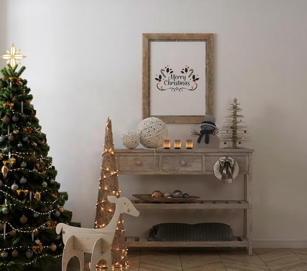 Maqueta de marco de cartel rústico en interior vintage con árbol de navidad y decoración