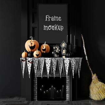 Maqueta de marco de chimenea de calabazas de halloween psd premium