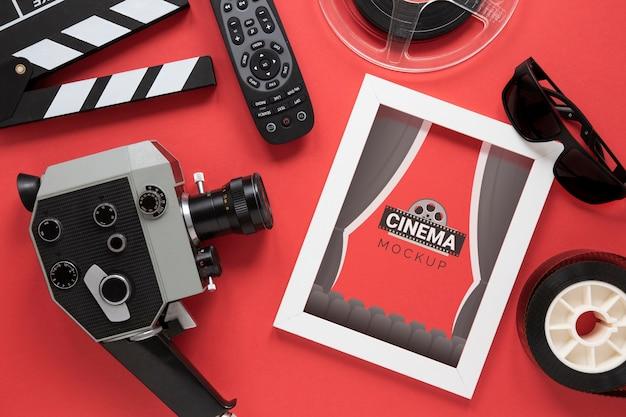 Maqueta de marco de cine de vista superior PSD gratuito