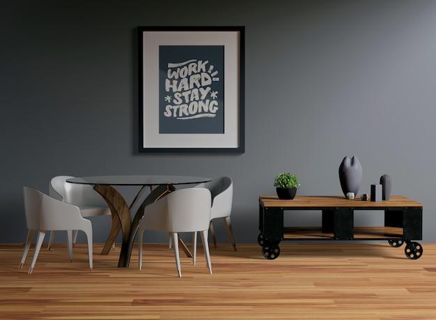 Maqueta de marco colgada en la pared