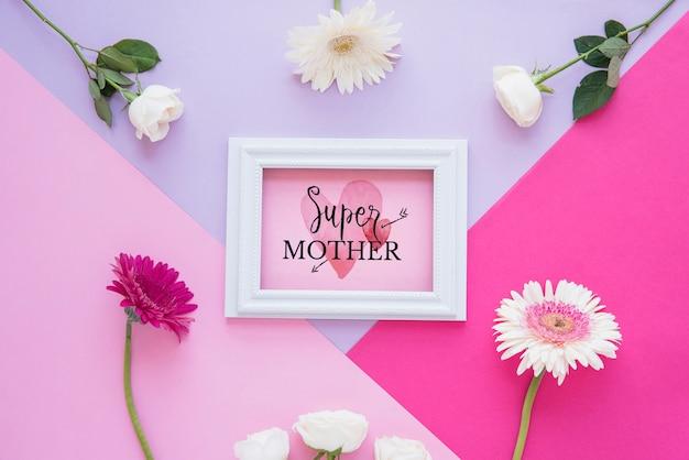 Maqueta de marco con composición flat lay del día de la madre