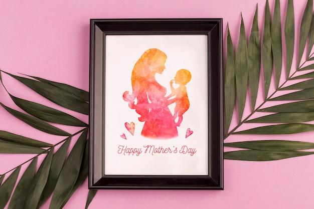 Maqueta de marco con concepto del día de la madre