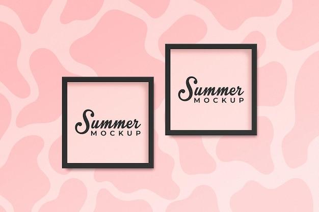 Maqueta de marco cuadrado de concepto de verano sobre fondo rosa