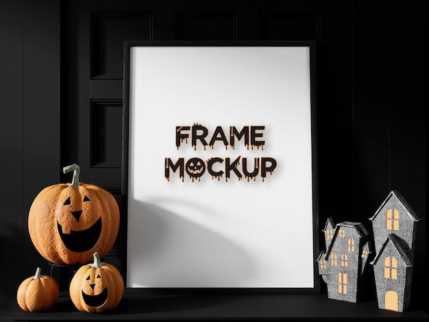 Maqueta de marco de día de halloween premium psd