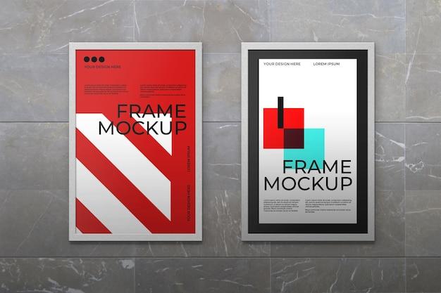 Maqueta de marco de dos carteles