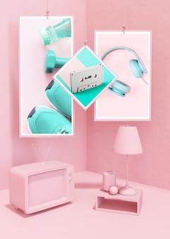 Maqueta de marco en estilo rosa pop