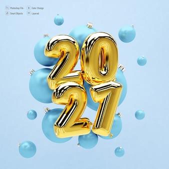 Maqueta de marco para feliz año nuevo 2021 con globos y regalos