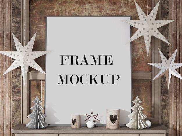 Maqueta de marco para feliz año nuevo con accesorios