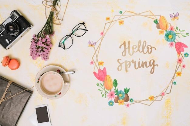 Maqueta de marco floral para primavera