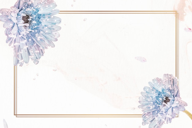 Maqueta de marco de flores de gerbera púrpura natural rectángulo