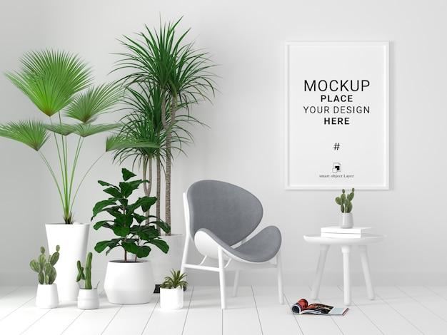 Maqueta de marco de foto en blanco con planta en fondo de pared blanca.