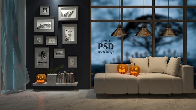 Maqueta del marco de la foto. un diseño de interiores en el festival de halloween. cabeza de calabaza en el sofá