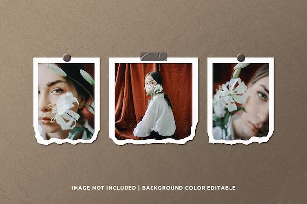 Maqueta de marco de foto de papel rasgado