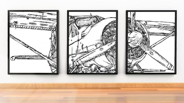 Maqueta de marco de foto de tres marcos de imagen en habitación moderna