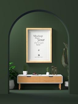 maqueta de marco de fotos en blanco interior en la sala de estar
