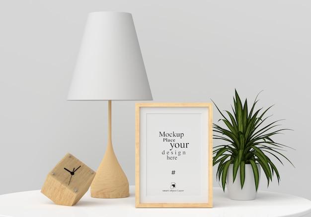 Maqueta marco de fotos en blanco en la moderna sala de estar