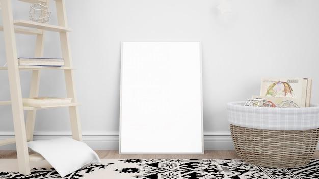 Maqueta de marco de fotos en blanco con objetos decorativos