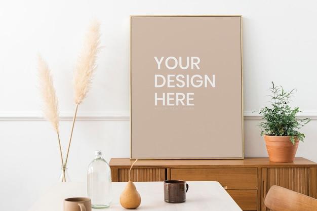 Maqueta de marco de fotos bonito rectángulo dorado