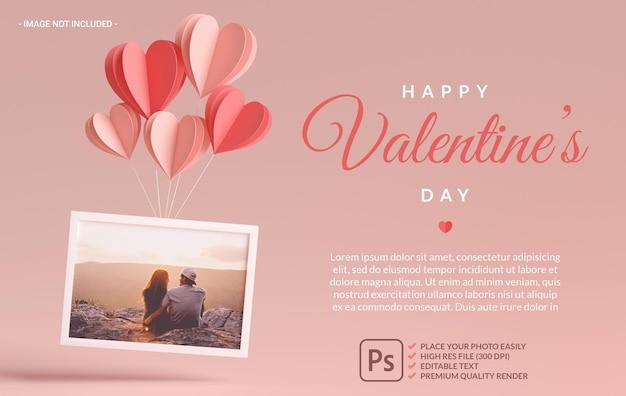 Maqueta de marco de fotos con corazones, amor y regalos para el día de san valentín en renderizado 3d