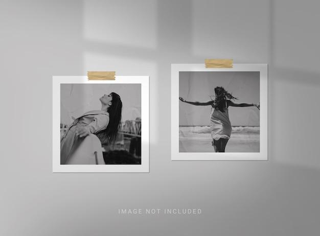 Maqueta de marco de fotos cuadrado con efecto papel