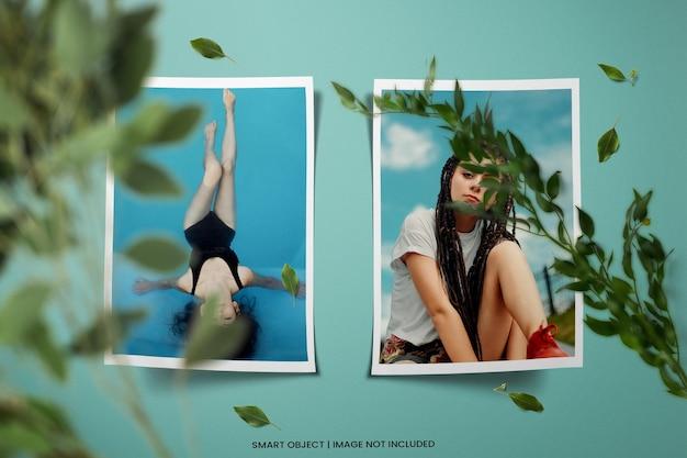 Maqueta de marco de fotos cuadrado de madboard realista psd premium