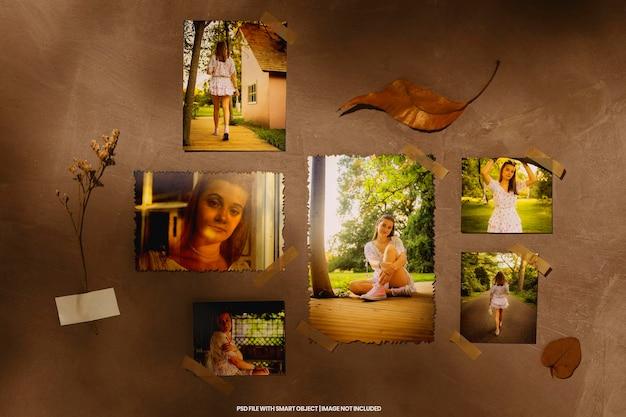 Maqueta de marco de fotos cuadrado de madboard vintage antiguo minimalista psd premium