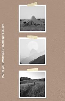 Maqueta de marco de fotos cuadrado polaroid premium psd