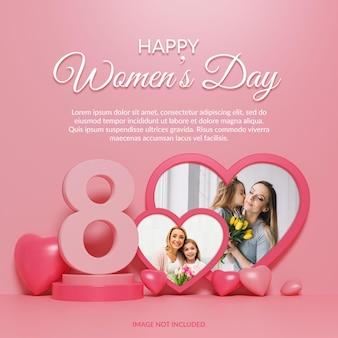 Maqueta de marco de fotos de feliz día de la mujer 3d render