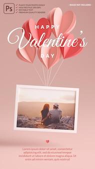 Maqueta de marco de fotos flotando con corazones para el día de san valentín en renderizado 3d