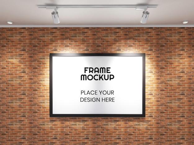 Maqueta de marco de fotos grande en la pared de ladrillo