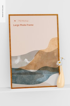 Maqueta de marco de fotos grande, vista en perspectiva