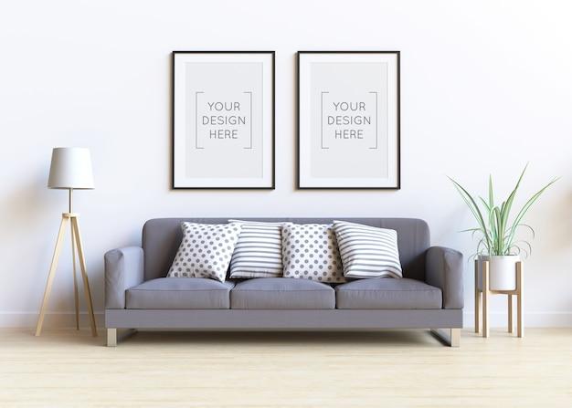Maqueta de marco de fotos en el interior de la sala de estar