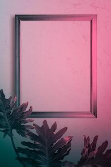 Maqueta de marco de fotos en luz rosa