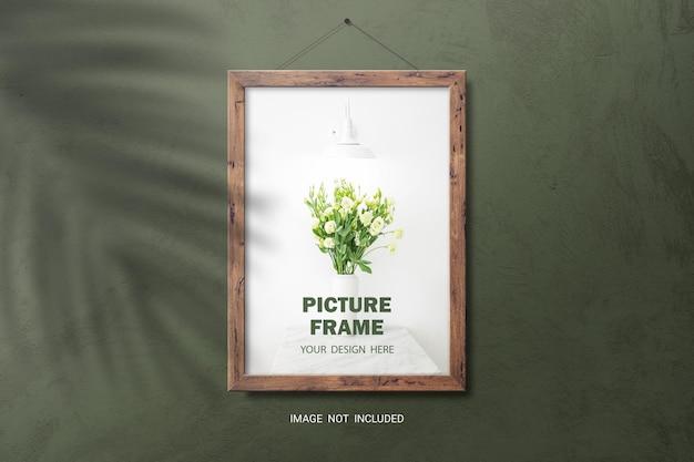 Maqueta de marco de fotos de madera marrón