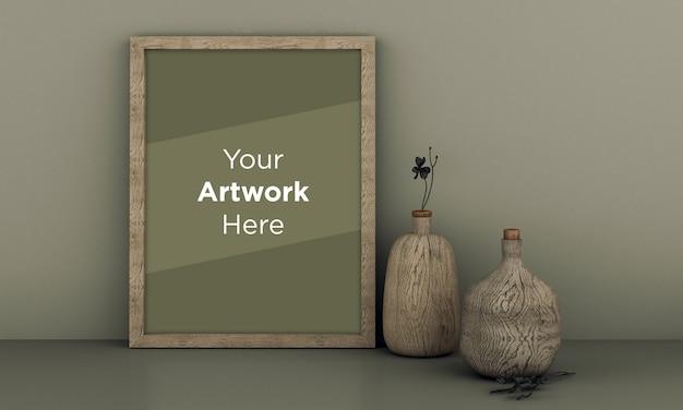 Maqueta de marco de fotos de madera vacía