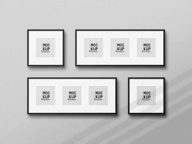 Maqueta de marco de fotos negro realista de vista superior