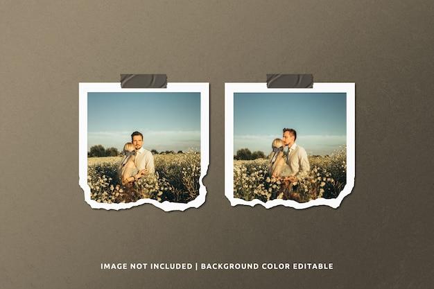 Maqueta de marco de fotos de papel rasgado cuadrado doble
