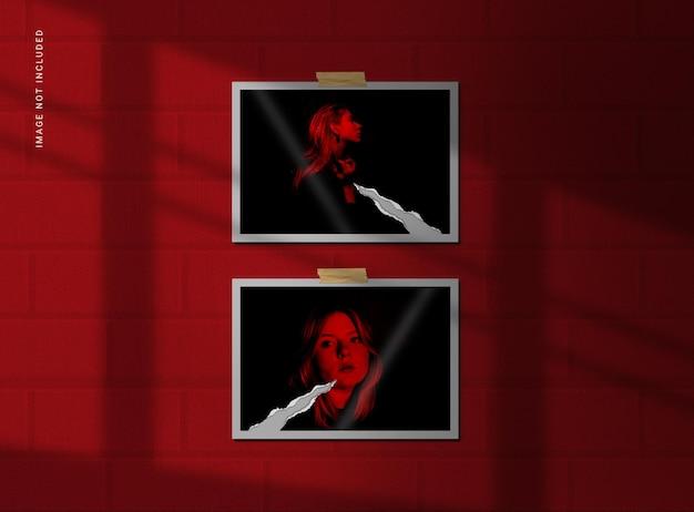 Maqueta de marco de fotos de papel rasgado con elegante sombra