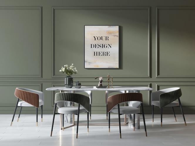 Maqueta de marco de fotos en pared verde en interior de lujo con mesa y sillas de mármol