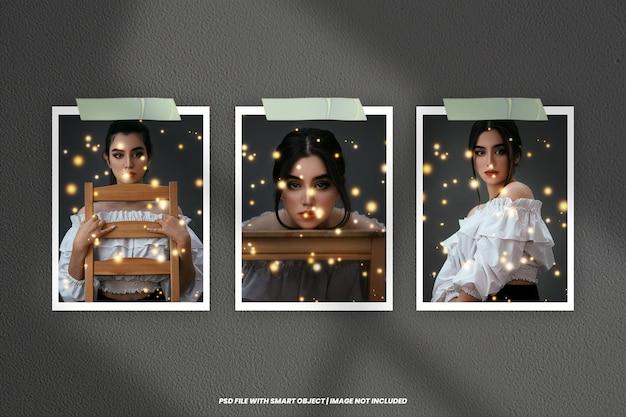 Maqueta de marco de fotos polaroid con efecto de luz premium psd