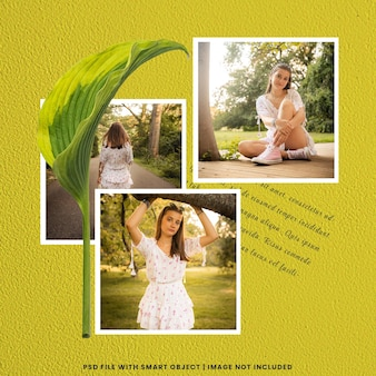 Maqueta de marco de fotos polaroid premium psd