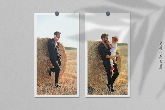 Maqueta de marco de fotos polaroid con superposición de sombras
