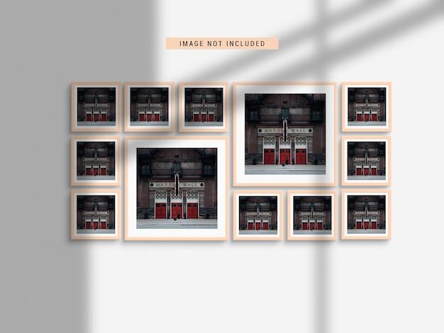 Maqueta de marco de fotos realista con sombra