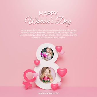Maqueta de marco de fotos de renderizado 3d feliz día de la mujer