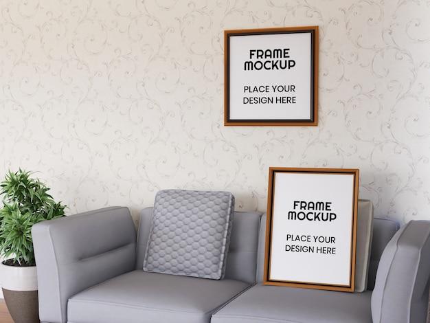 Maqueta de marco de fotos de sala de estar interior