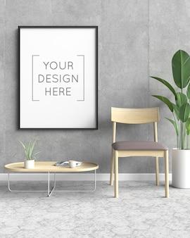 Maqueta de marco de fotos con silla y planta.