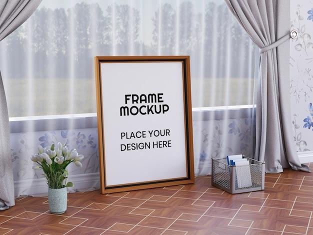 Maqueta de marco de fotos en el suelo