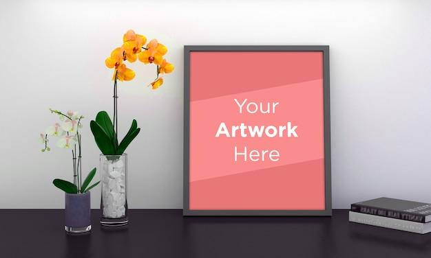 Maqueta de marco de fotos vacío con flores amarillas